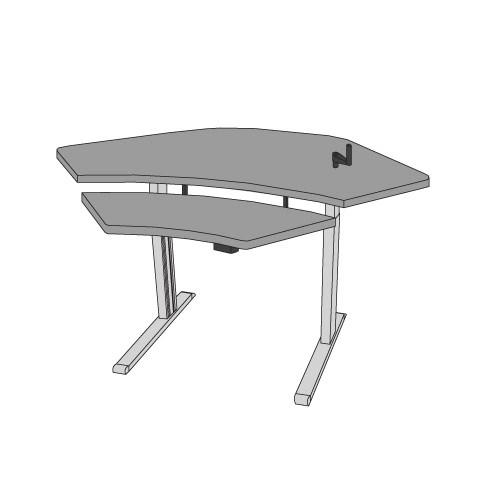Equity adjustable corner workstation with keyboard lift