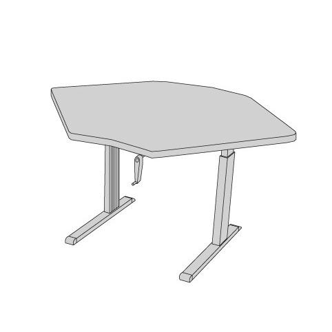 Equity adjustable corner workstation - Under-mount crank