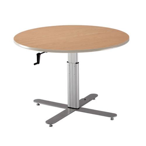 Hand-crank adjustment large round table