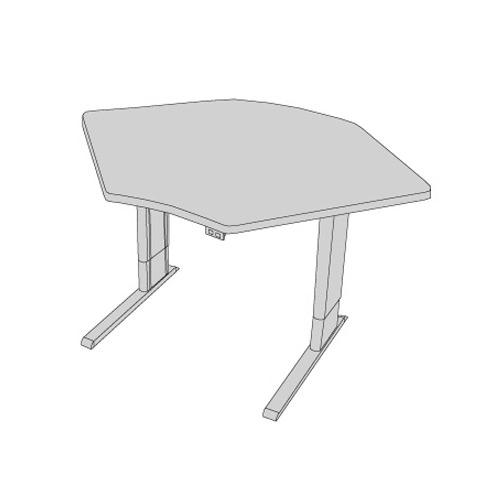 Infinity adjustable corner workstation with single surface