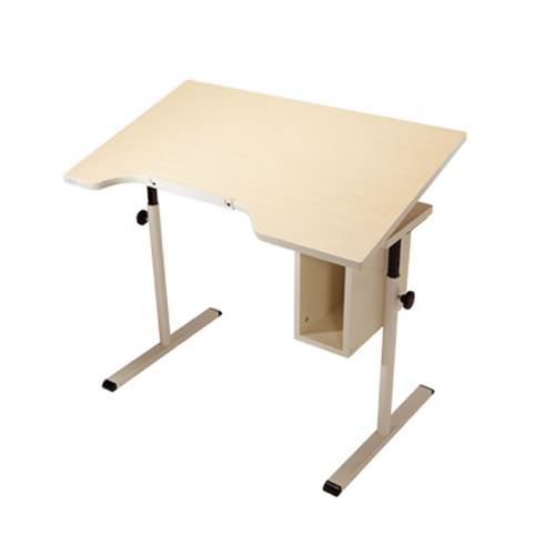 Knob adjusted adjustable tilt student desk with storage