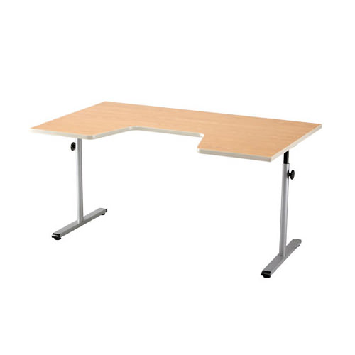 Knob adjusted adjustable therapy table with comfort curve