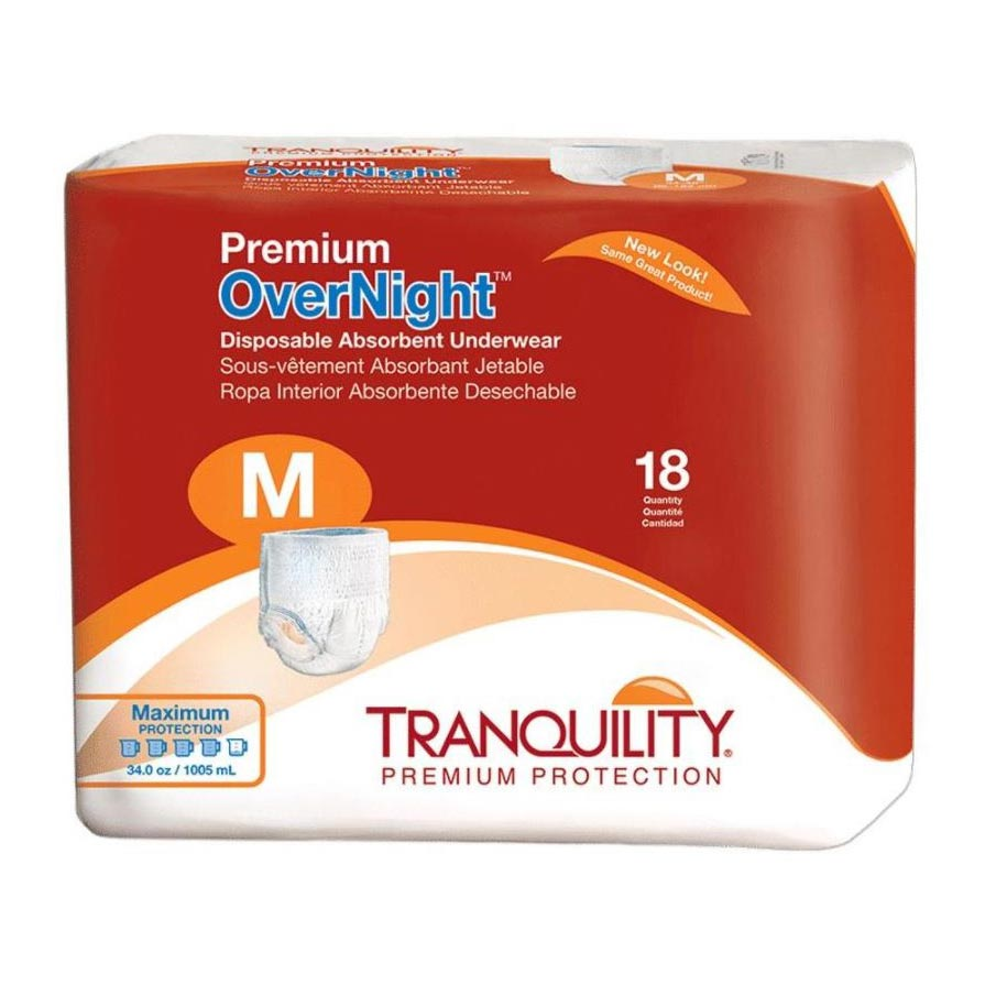 """Tranquility Premium OverNight Disposable Absorbent Underwear, 34"""" to 48"""""""