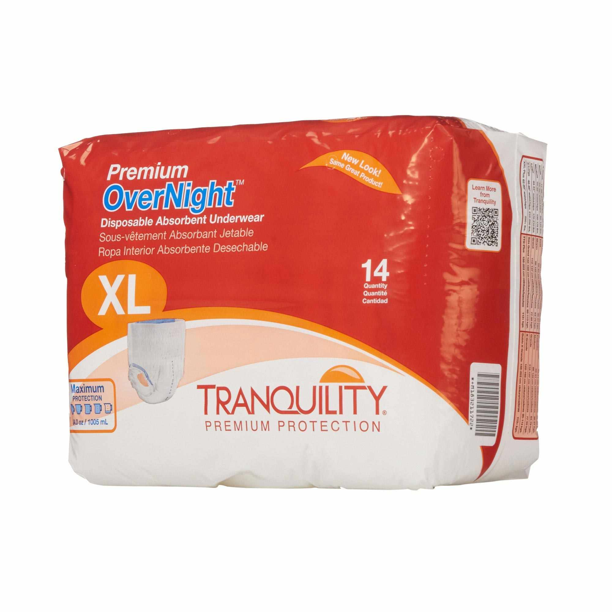"""Tranquility Premium OverNight Disposable Absorbent Underwear, 48"""" to 66"""""""