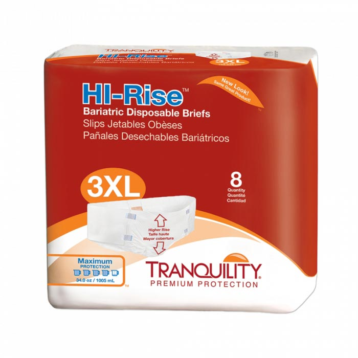 """Tranquility Hi-Rise Bariatric Disposable Brief, 64"""" to 96"""""""