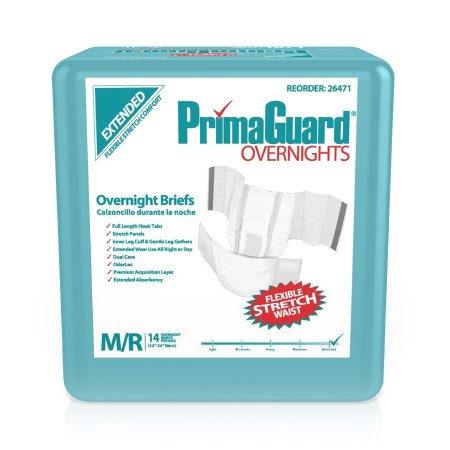 PrimaGuard Overnite Disposable Incontinence Brief, Medium / Regular
