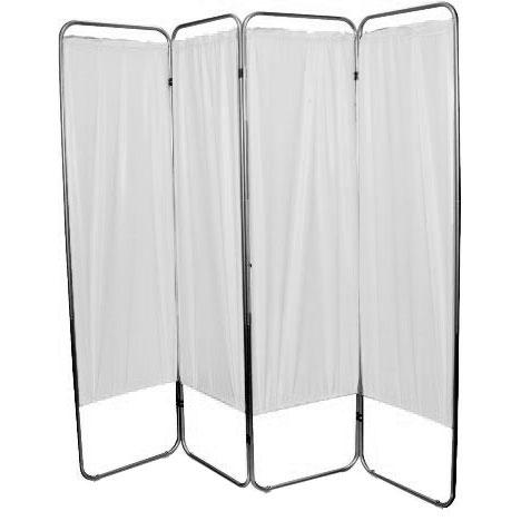 "Presco Standard 4-Panel Privacy Screen, white 6 mm Vinyl, 62"" W x 68"" H"