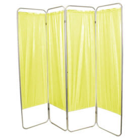 "Presco Standard 4-Panel Privacy Screen, yellow 4 mm Vinyl, 62"" W x 68"" H"