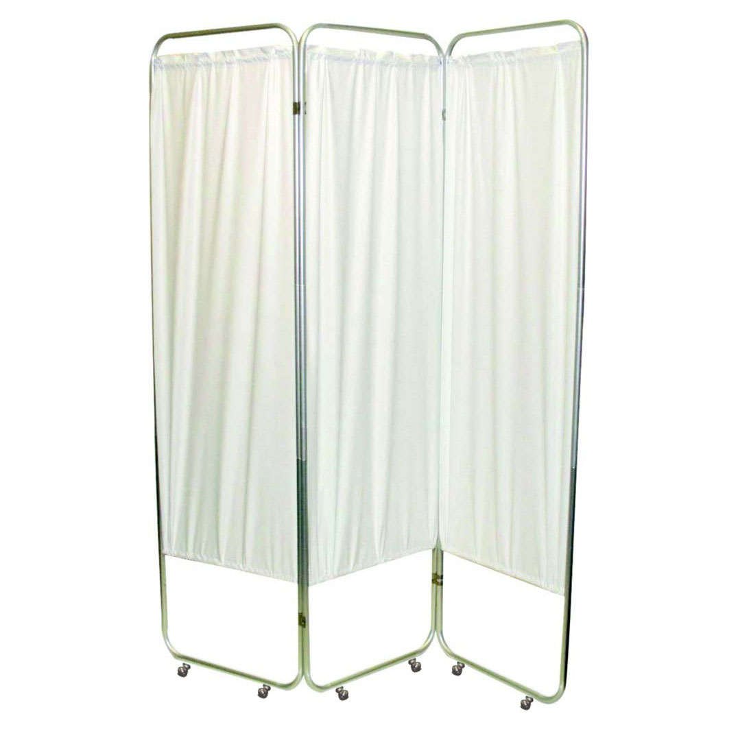 """Presco Standard 3-Panel Privacy Screen with casters, 6 mm white, 48"""" W x 68"""" H"""