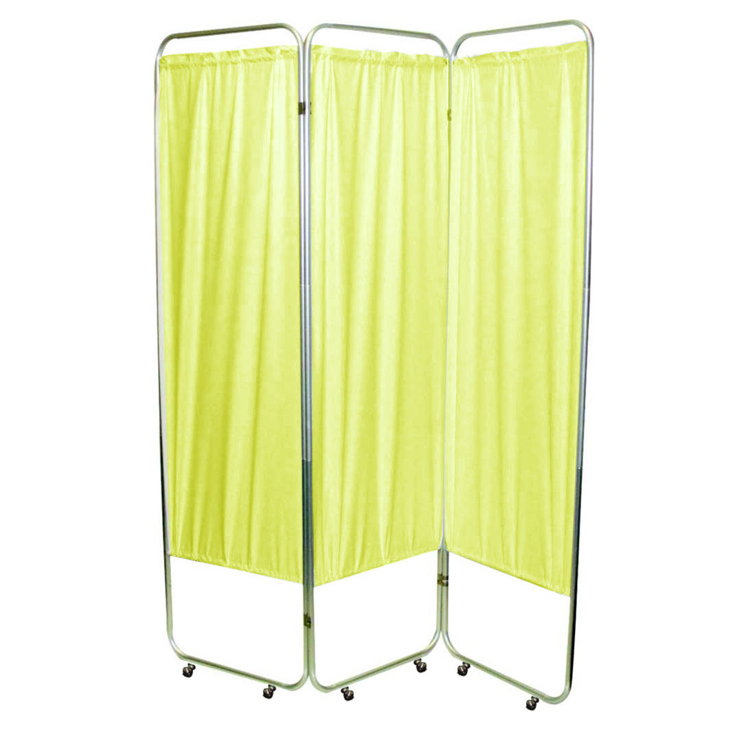 "Presco Standard 3-Panel Privacy Screen with casters, 4 mm yellow, 48"" W x 68"" H"