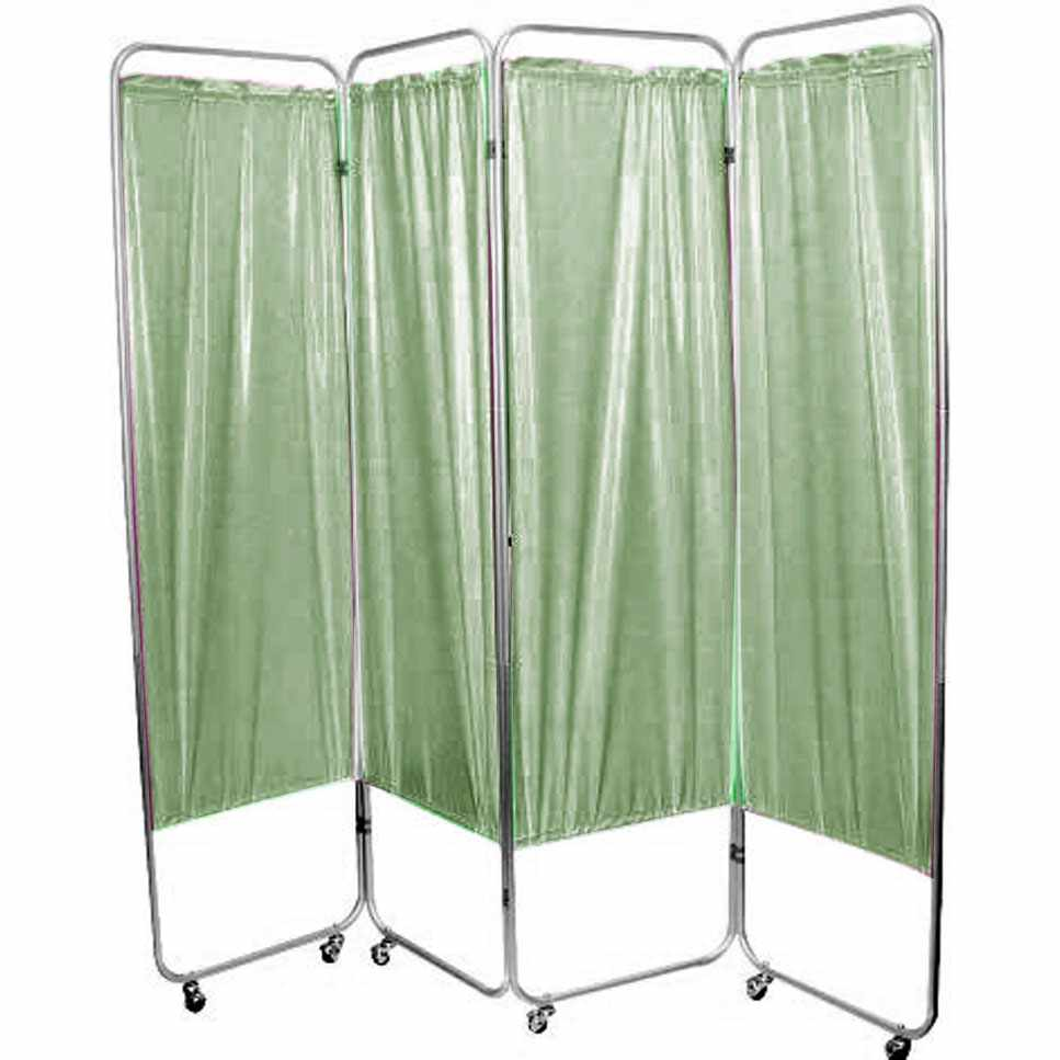 """Presco Standard 4-Panel Privacy Screen with casters, 6 mm green, 62"""" W x 68"""" H"""
