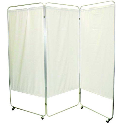 """Presco King Size 3-Panel Privacy Screen with casters, 6 mm white, 85"""" W x 68"""" H"""