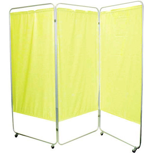 """Presco King Size 3-Panel Privacy Screen with casters, 4 mm yellow, 85"""" W x 68"""" H"""
