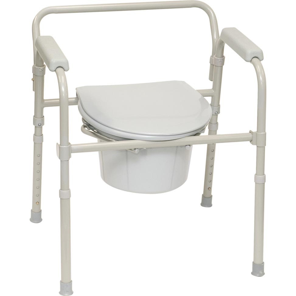 Probasics Three-In-One Folding Patient Commode, 350 lb Capacity, Gray