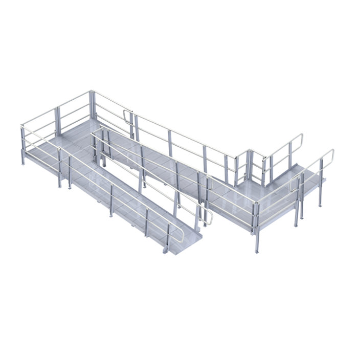PVI modular XP ramp system with handrails