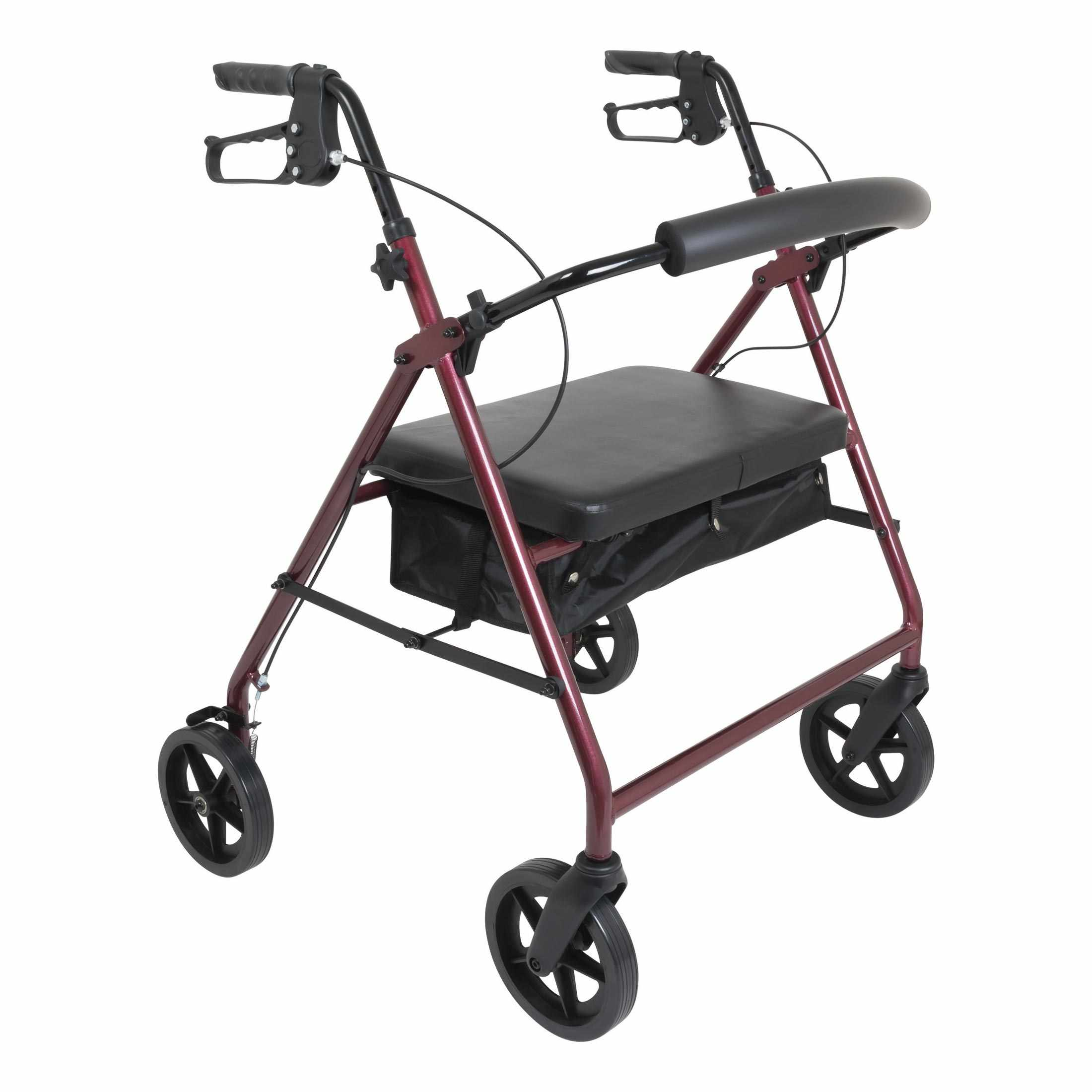 "PMI Bariatric Aluminum Patient Rollator with 8"" Wheels, Burgundy"