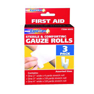Rapid Care Gauze Roll, 2 Inch, 3 Inch, and 4 Inch
