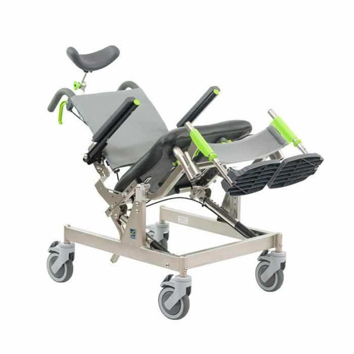 RAZ design compact attendant tilt shower commode chair