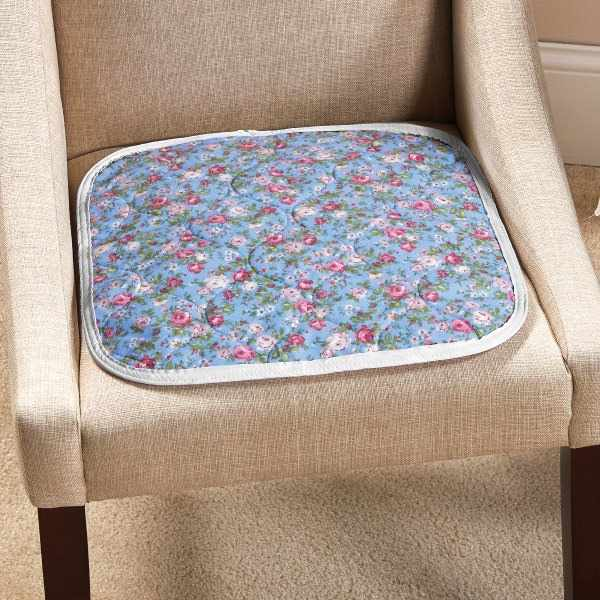 """CareFor Deluxe Designer Print Reusable Chair Pad, 18"""" x 18"""", Floral Print, Anti-Fungal"""