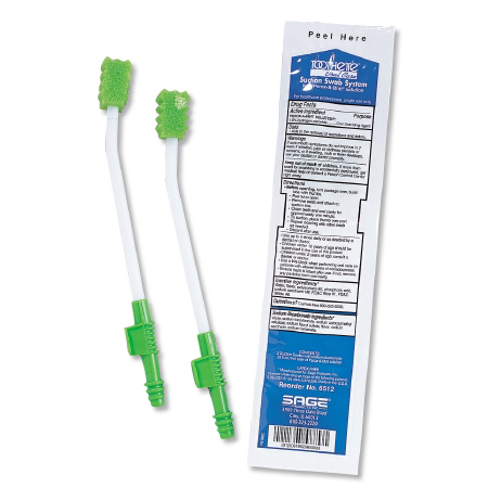 Sage Products Toothette Single-Use Suction Swab System with Perox-A-Mint Solution