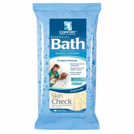 Sage Products Bath Wipe Essential Bath Soft pack Aloe Unscented 5 Count