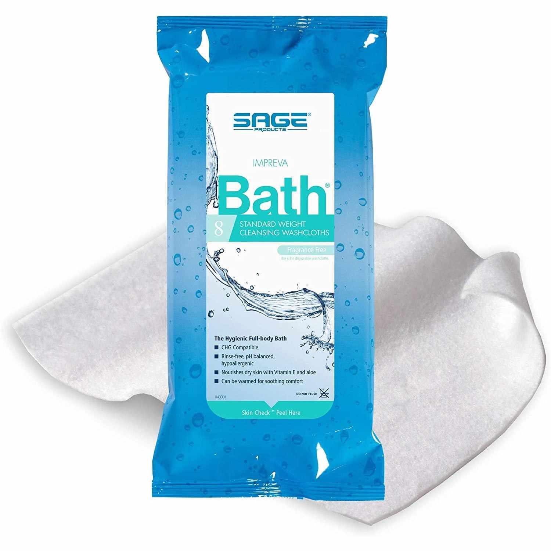 Sage Products Bath Wipe Impreva Bath Soft pack Aloe Unscented