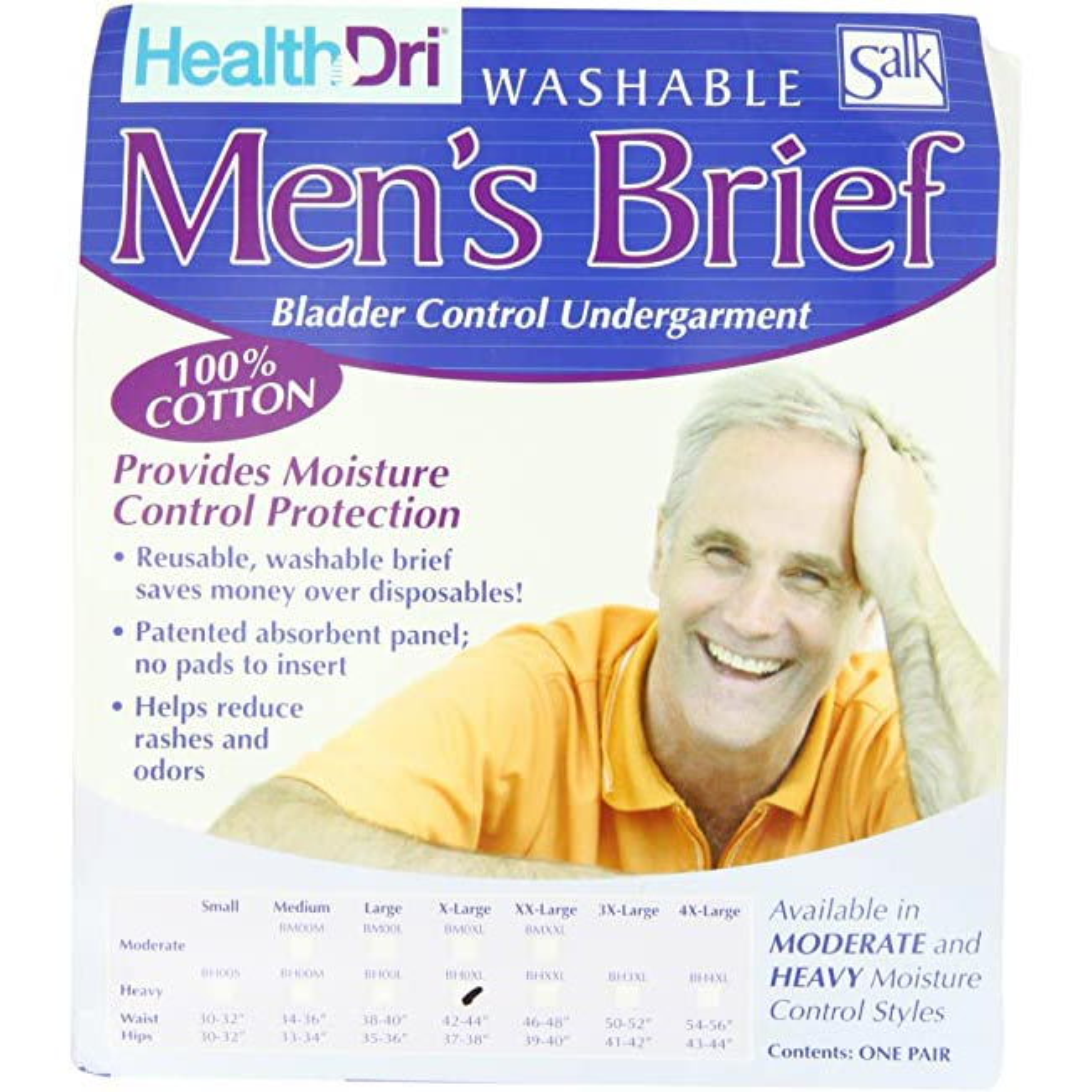 "HealthDri Men's Heavy Briefs 2X-large, 46"" to 48"""