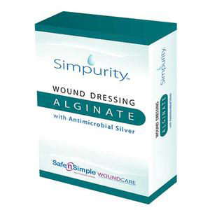 "Simpurity Silver Alginate Wound Dressing, 4"" x 5"""