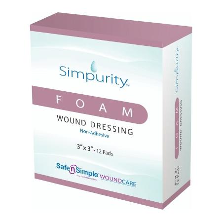 Simpurity Foam Wound Dressing, 3 Inch x 3 Inch