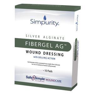 Simpurity Fibergel AG Alginate Wound Dressing, 2 Inch x 2 Inch