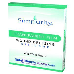 Simpurity Transparent Film Silicone Dressing, 4 Inch x 5 Inch