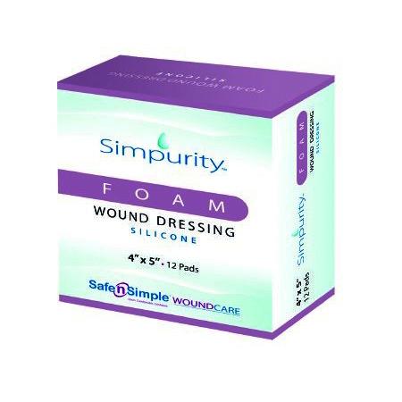 Simpurity Transparent Film Silicone Dressing, 4 Inch x 5 Inch