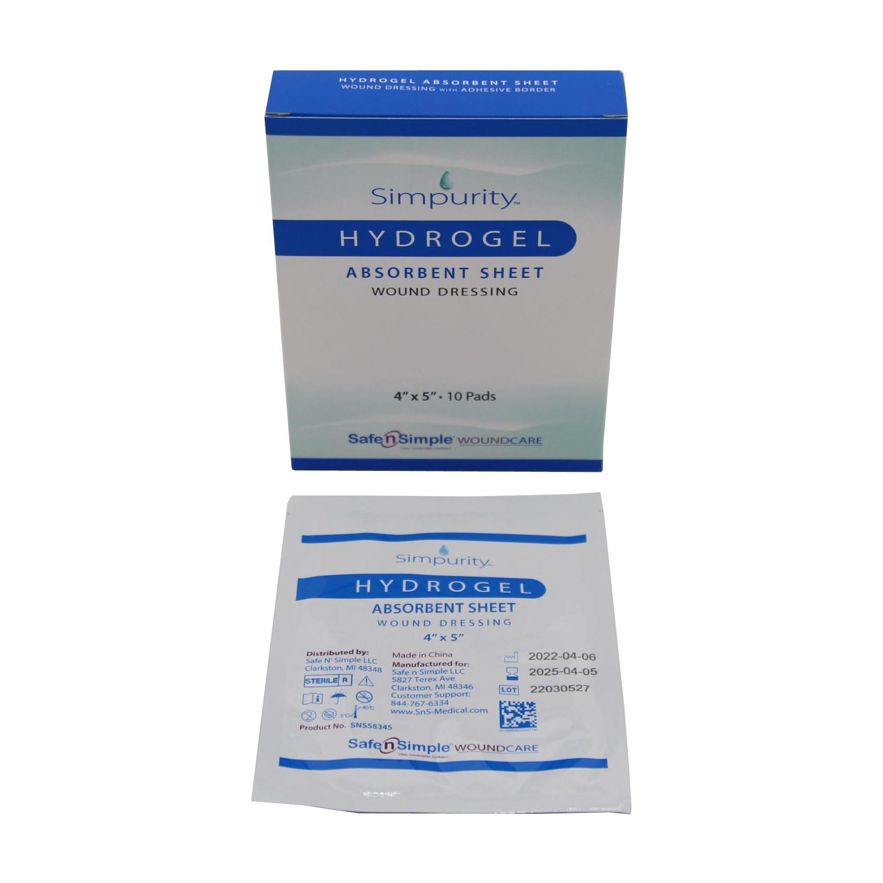 Simpurity Hydrogel Wound Dressing, 4 Inch x 5 Inch