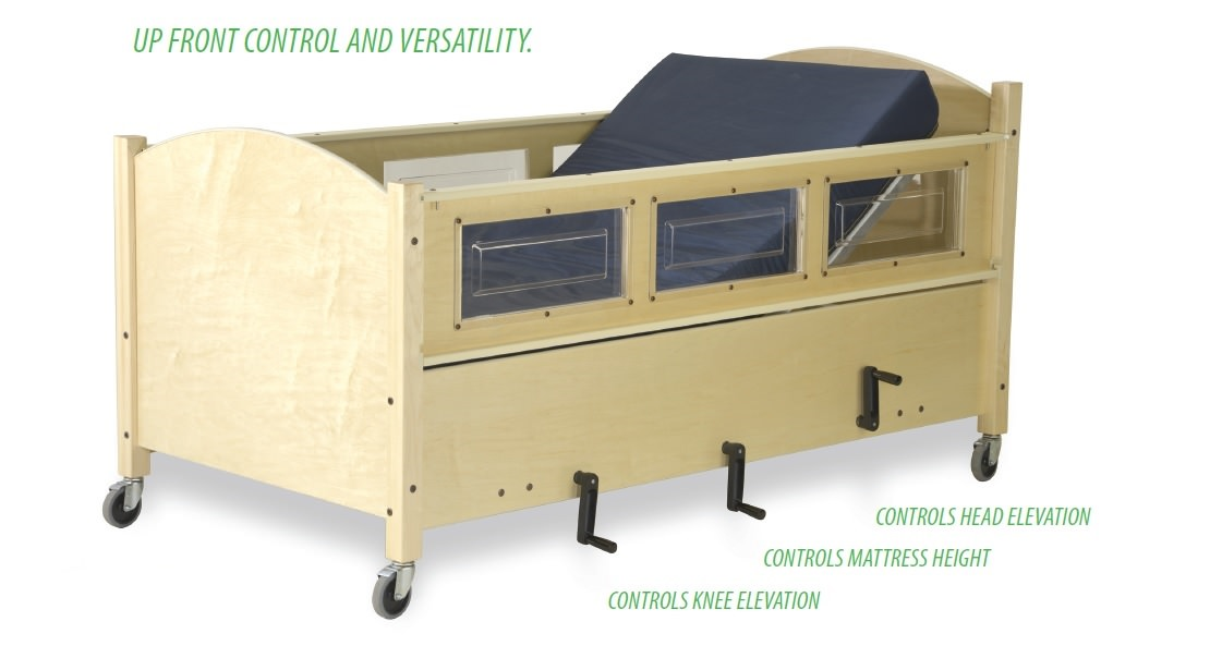 SleepSafer dual view manual height adjustable tall bed