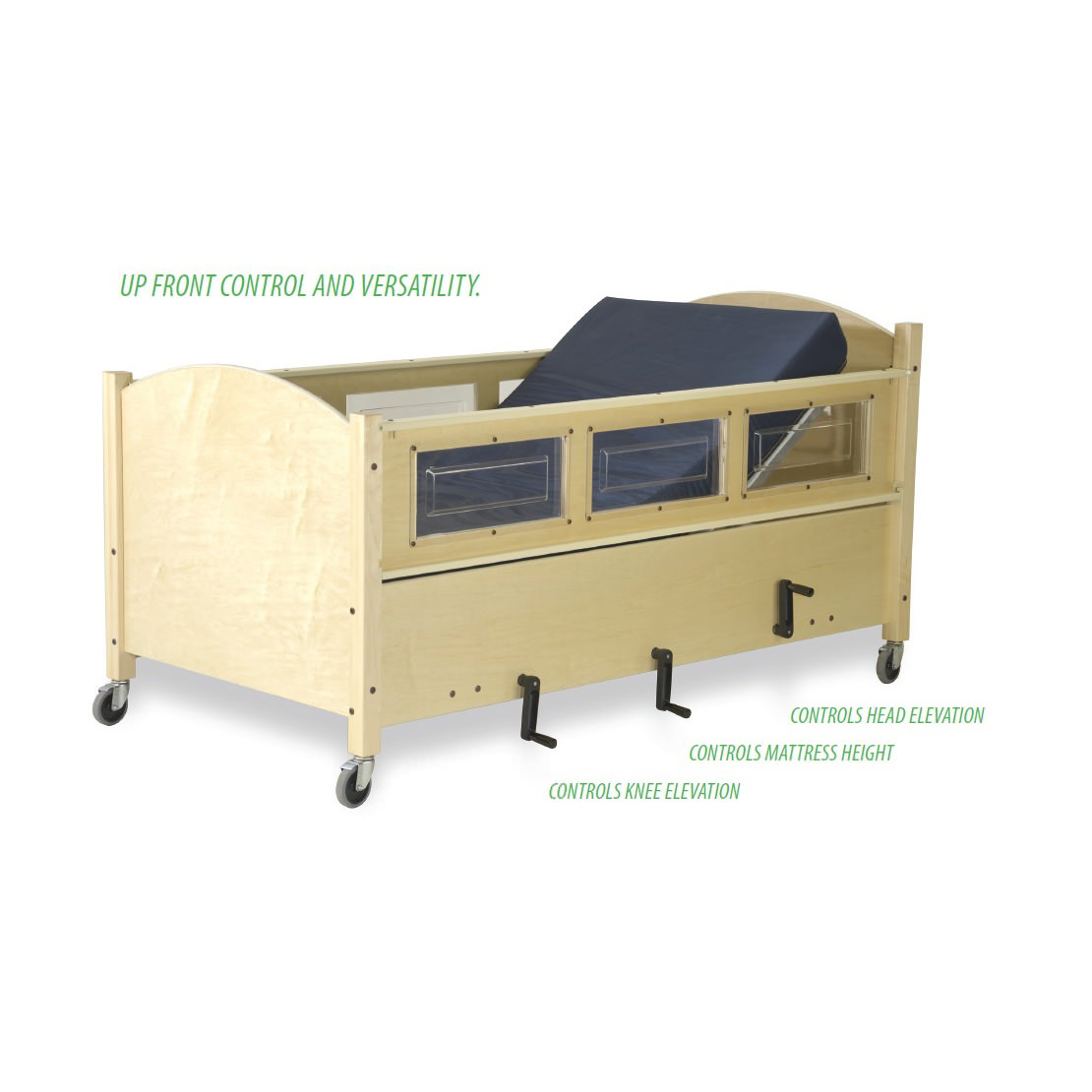SleepSafer manual hi-lo bed with dual view