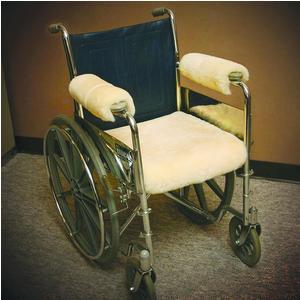 """Sheepskin ranch sofsheep sheepskin wheelchair seat pad standard adult 18"""" x 16"""" beige"""