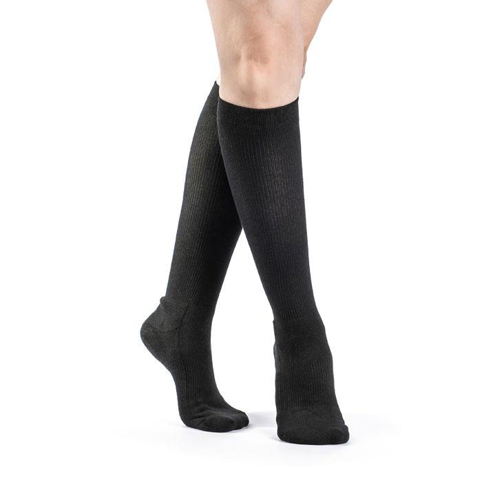 Sigvaris Cushioned Cotton Womens Calf High Compression Socks 15-20 mmHg, Black