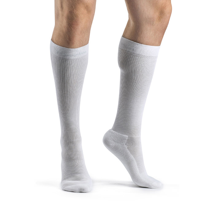 Sigvaris Cushioned Cotton Mens Calf High Compression Socks 15-20 mmHg, White