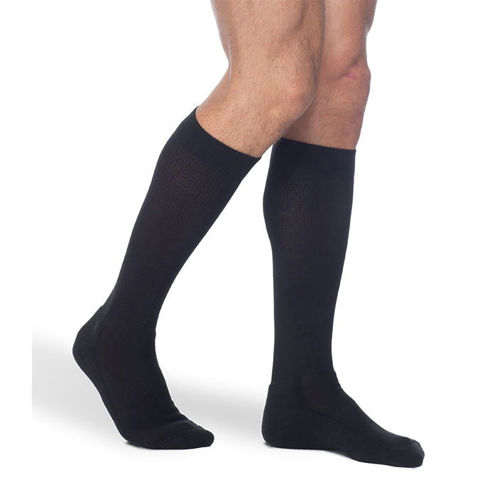 Sigvaris Cushioned Cotton Mens Calf High Compression Socks 15-20 mmHg, Black