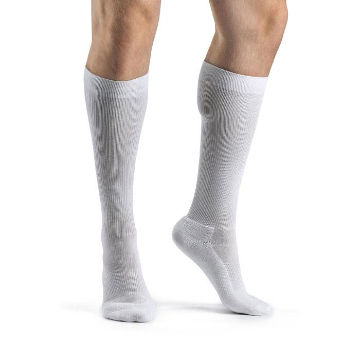 Sigvaris Men's Knee-High Cushioned Cotton Compression Socks, White, 15-20 mmHg, Size B