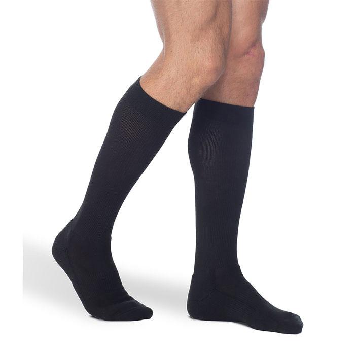 Sigvaris Men's Knee-High Cushioned Cotton Compression Socks, Black, 15-20 mmHg, Size B