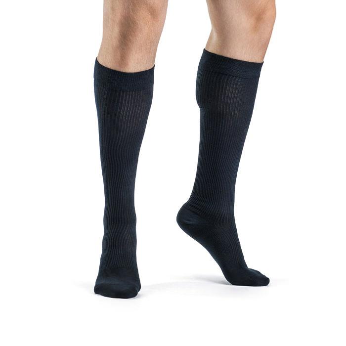 Sigvaris Men's Casual Cotton Sock, Calf-High, Navy, 15-20 mmHg, Size B