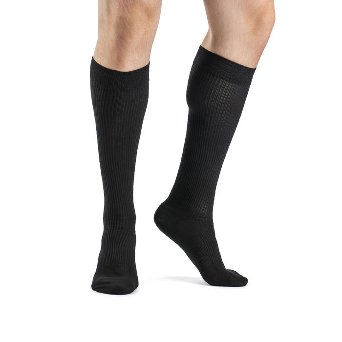 Sigvaris Men's Casual Cotton Compression Sock, Calf-High, Black, 15-20 mmHg, Size B
