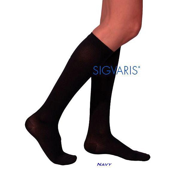 Sigvaris Cotton Comfort Calf-High Compression Socks, Closed Toe, Large Long, 20-30mmHg, Navy