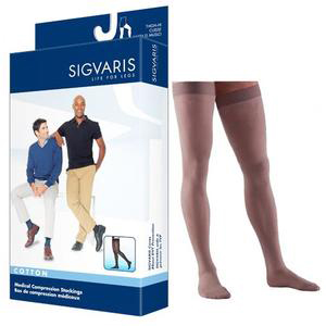 Sigvaris Cotton Comfort Thigh-High Compression Stockings, Large Short, 20-30 mmHg- Pair