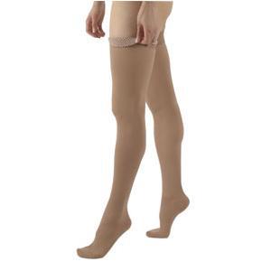 Sigvaris Cotton Ribbed Thigh-High Compression Stockings 20-30 mmHg, Medium Long, Crispa