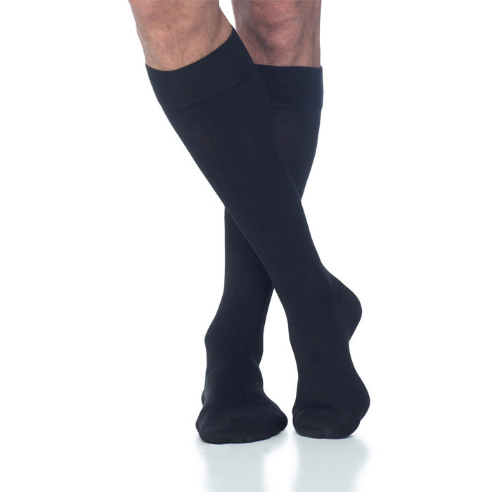Sigvaris Cotton Comfort Men's Knee High Compression Socks, Medium Long, Black, 30-40 mmHg- Pair