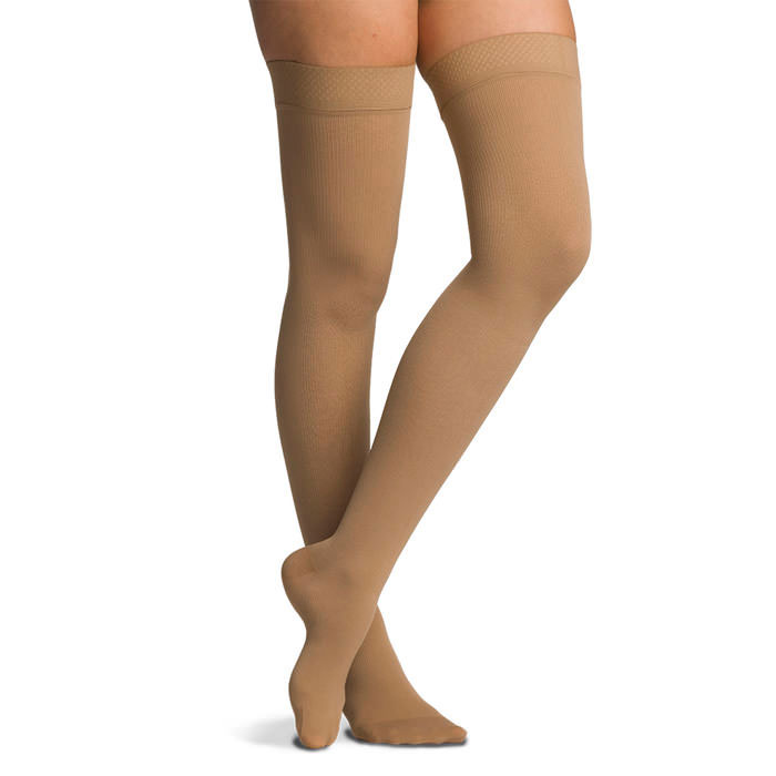 Sigvaris Cotton Thigh High Compression Stockings 30-40mmHg, Medium-Short