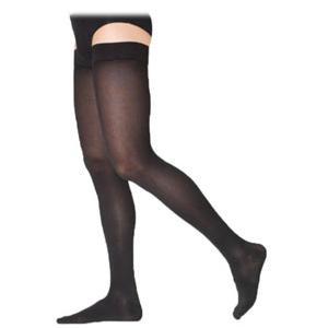 Sigvaris Cotton Comfort Women's ThighHigh Compression Stockings Medium Short, Black 30-40mmHg- Pair