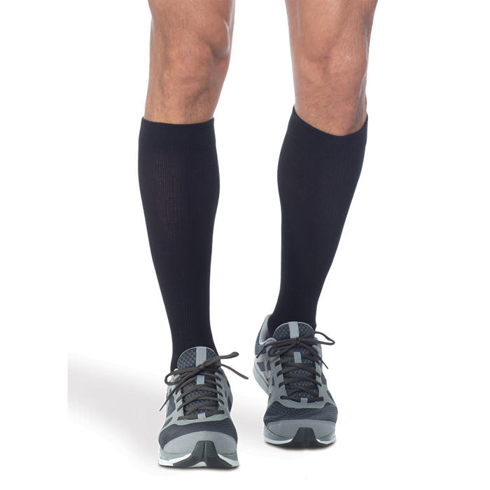 Sigvaris Cushioned Cotton Men's Calf-High Compression Socks, Large Long, Black 20-30 mmHg- Pair